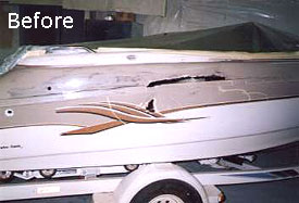 Boat with Jet Ski accident damage